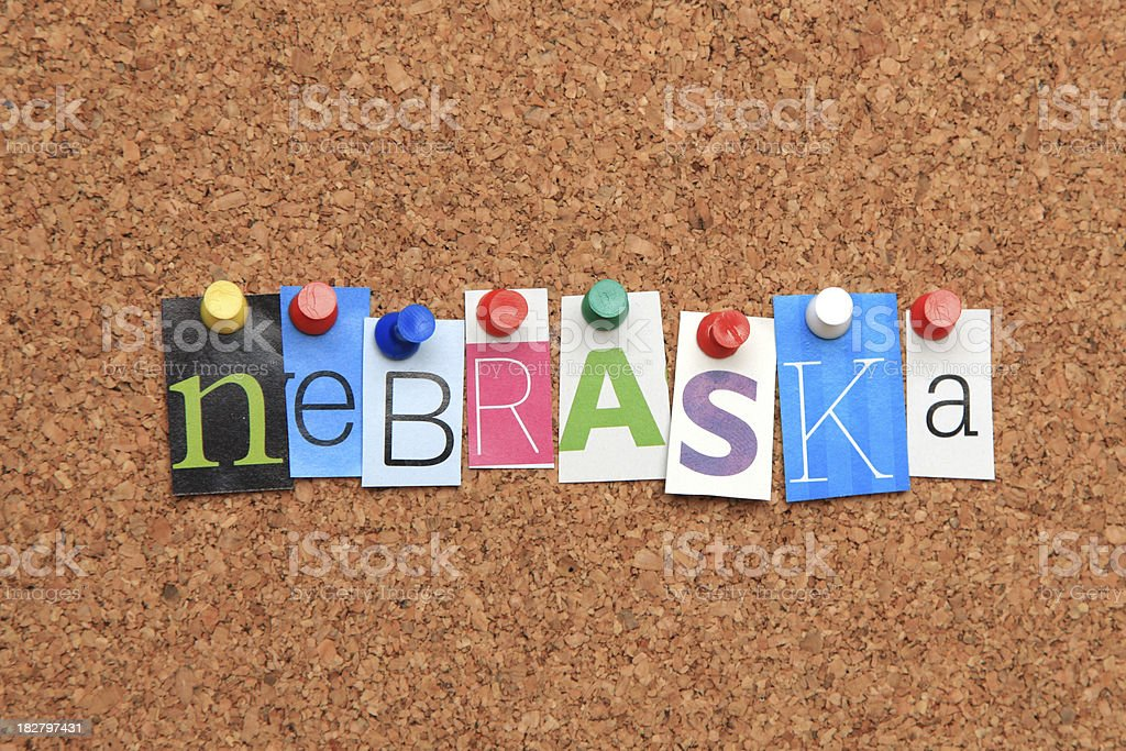 Nebraska pinned on noticeboard royalty-free stock photo