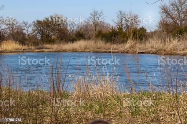 Photo of Nebraska Platte River flowing land scape view