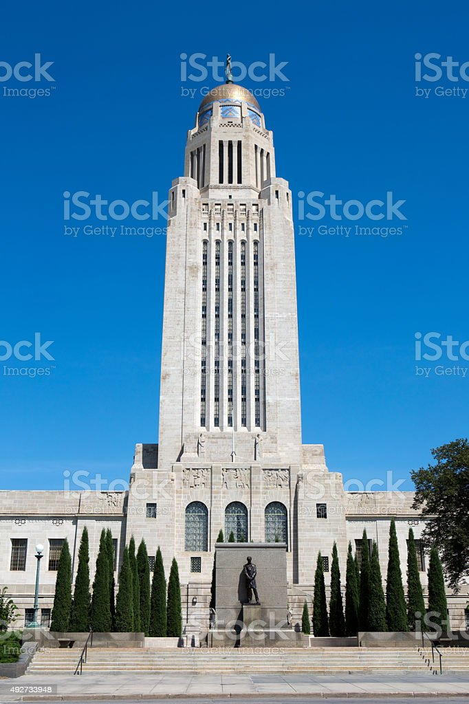 Nebraska State Capitol Tower Dome stock photo