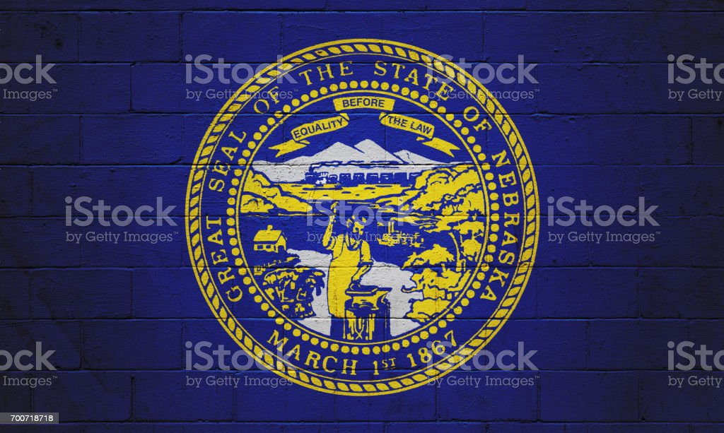 Nebraska state flag painted on a wall stock photo
