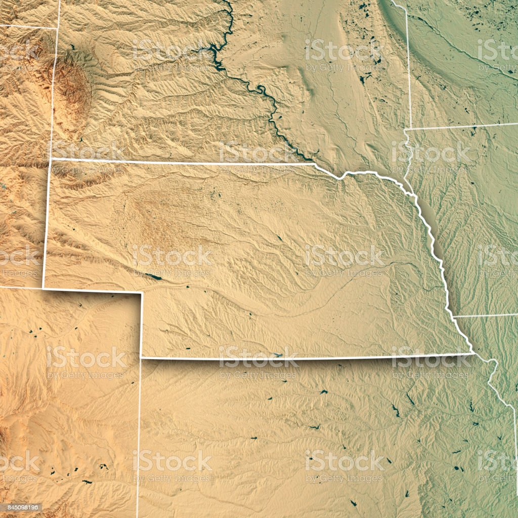 Nebraska State USA 3D Render Topographic Map Border stock photo