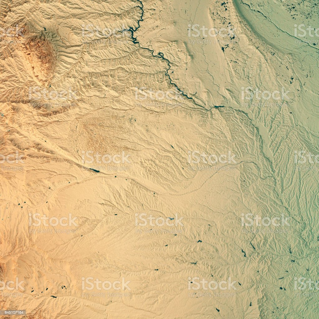 Nebraska State USA 3D Render Topographic Map stock photo