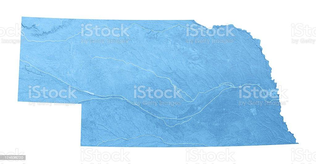 Nebraska Topographic Map Isolated stock photo