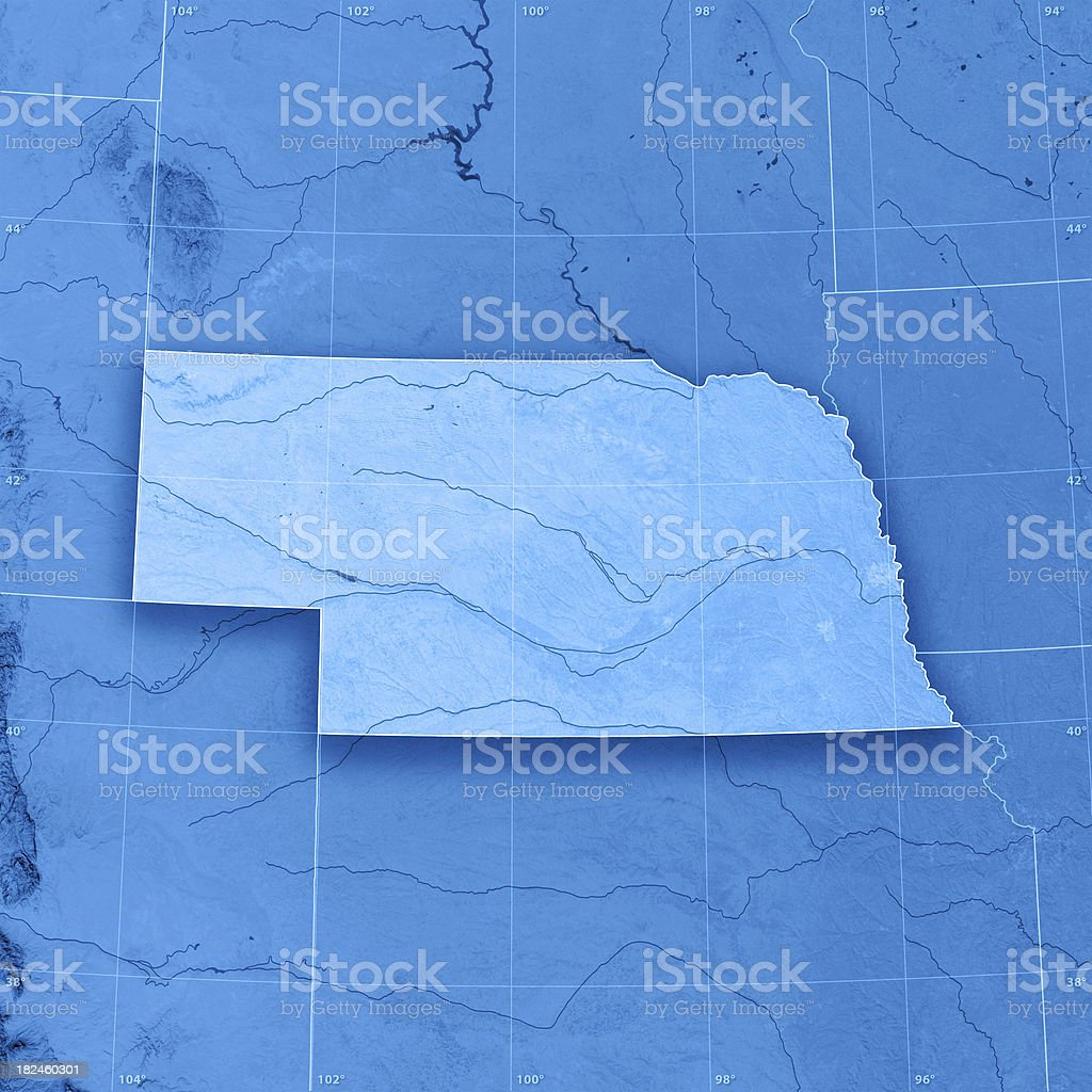 Nebraska Topographic Map stock photo