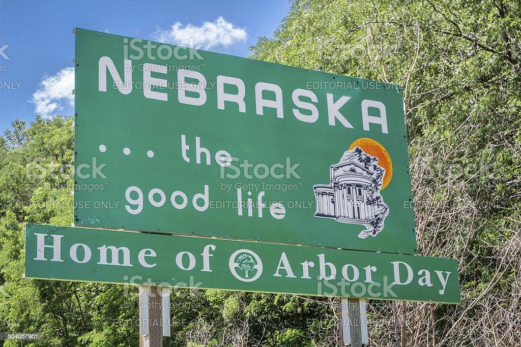 Nebraska welcome road sign stock photo