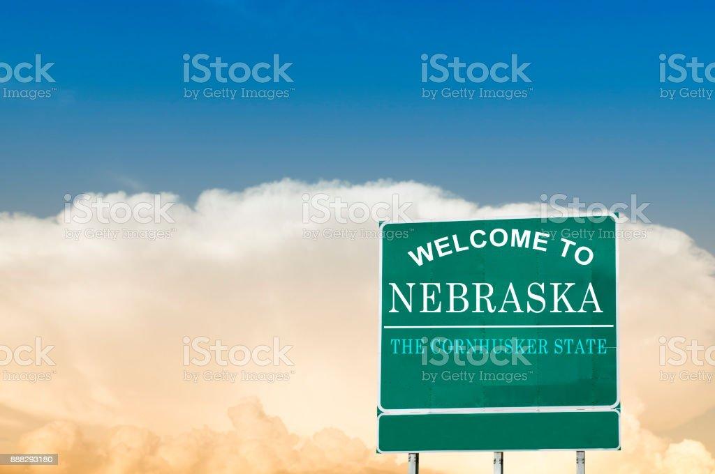 Nebraska, Welcome road sign stock photo