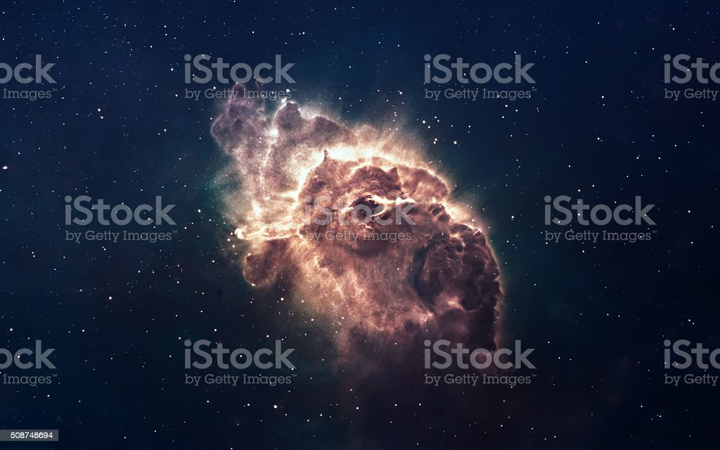 Nebula and stars in deep space, glowing mysterious universe. Elements stock photo