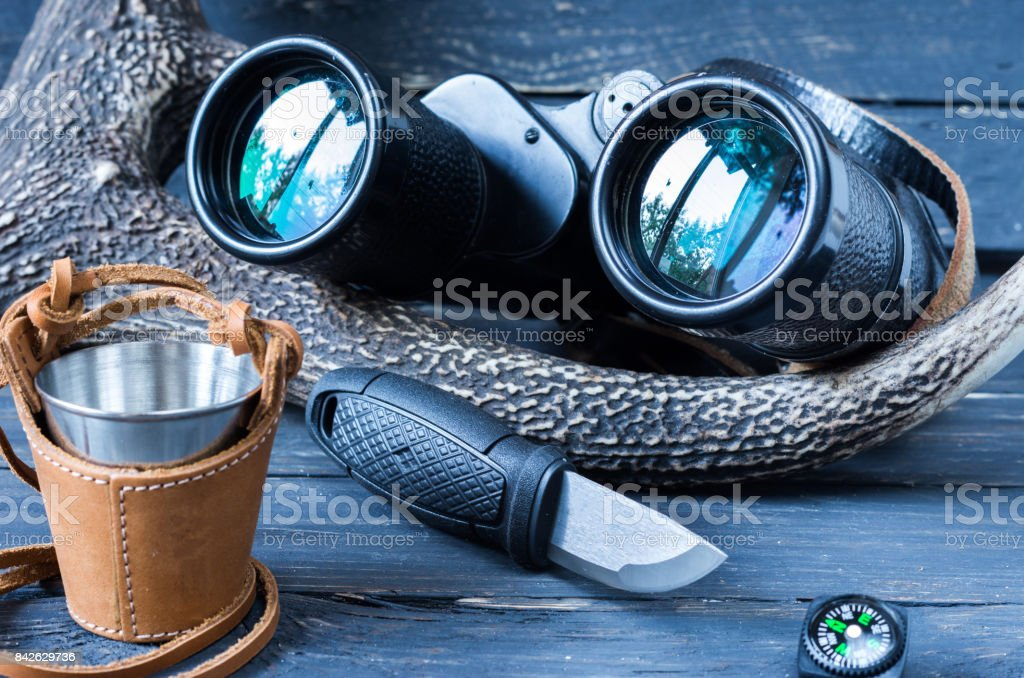 Necessary attributes of the hunter and the tourist. stock photo