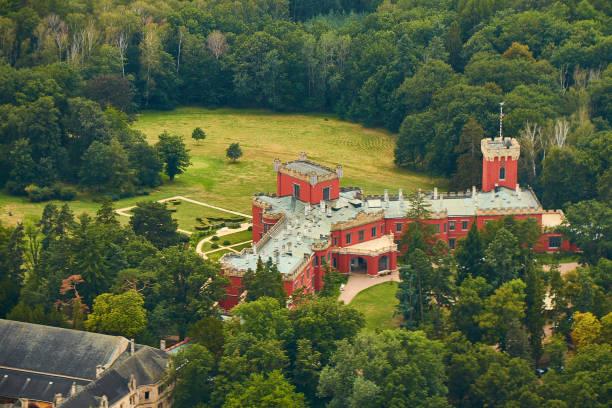 Nechanice, Czechia - 08/25/2019: Aerial view of Hrádek u Nechanic castle near Hradec Králové city. stock photo