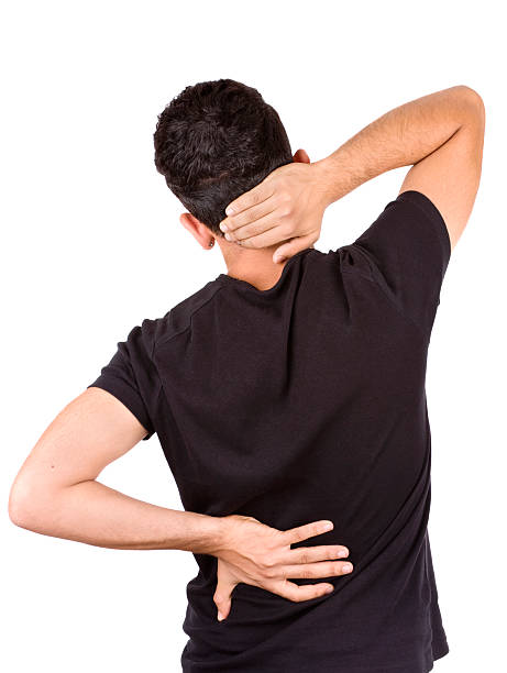 Neck and back pain stock photo