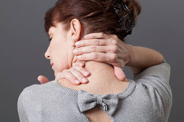 neck and shoulder gestures for releasing tension acupressure for relaxing shoulder and backache human neck stock pictures, royalty-free photos & images