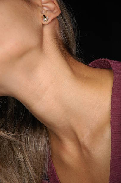 neck line - kissing on neck stock photos and pictures