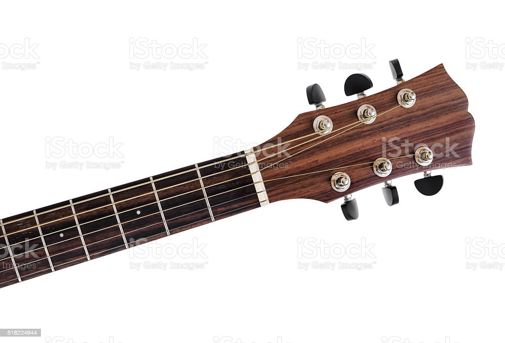 Neck of acoustic guitar. stock photo