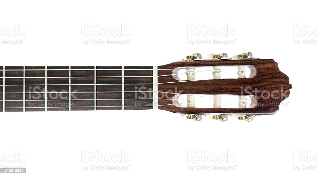 Neck of classical guitar. stock photo