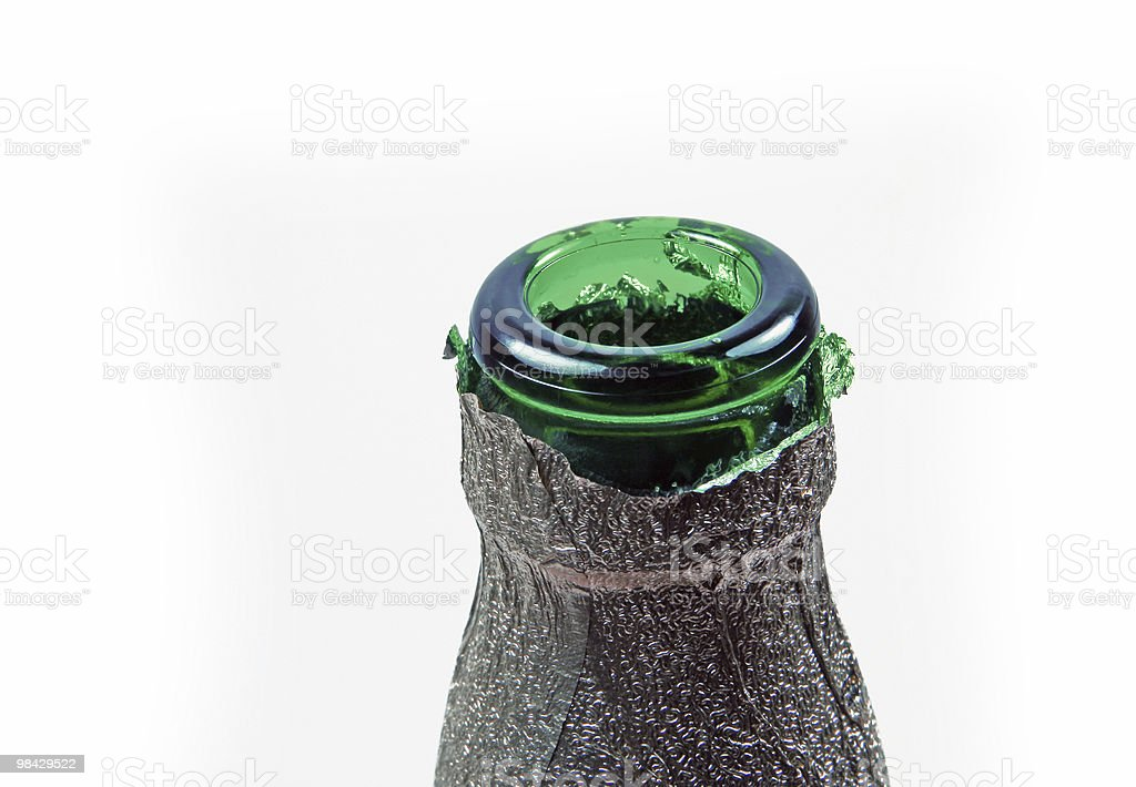 Neck of green bottle with foil royalty-free stock photo