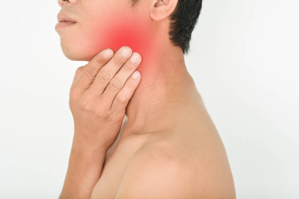Neck pain and tonsillitis stock photo