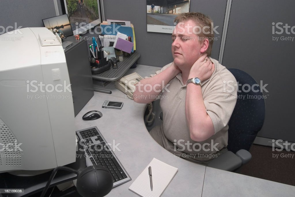 Neck Pain at work royalty-free stock photo