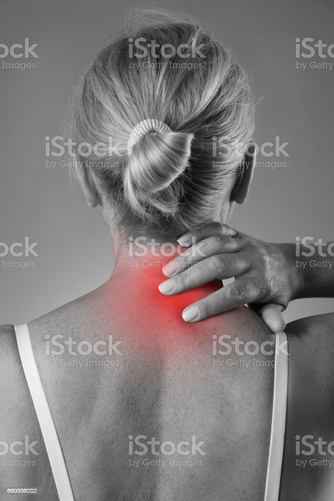 Neck pain, massage of female body, ache in woman\'s body, black and...
