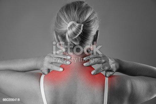istock Neck pain, massage of female body, ache in woman's body 660356418