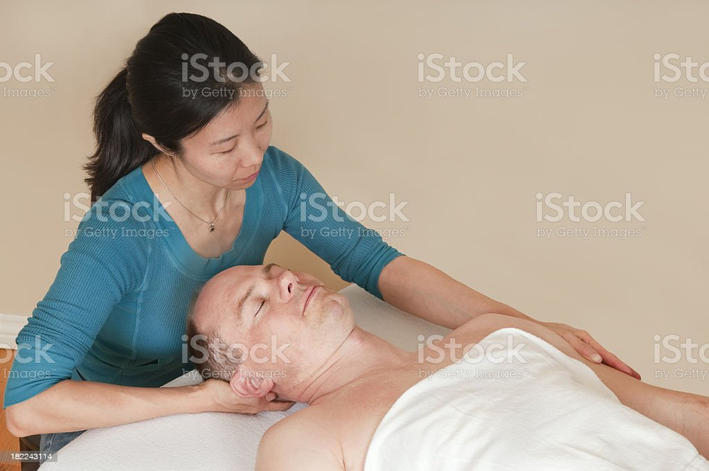 Neck Stretch - Sports Massage Series royalty-free stock photo