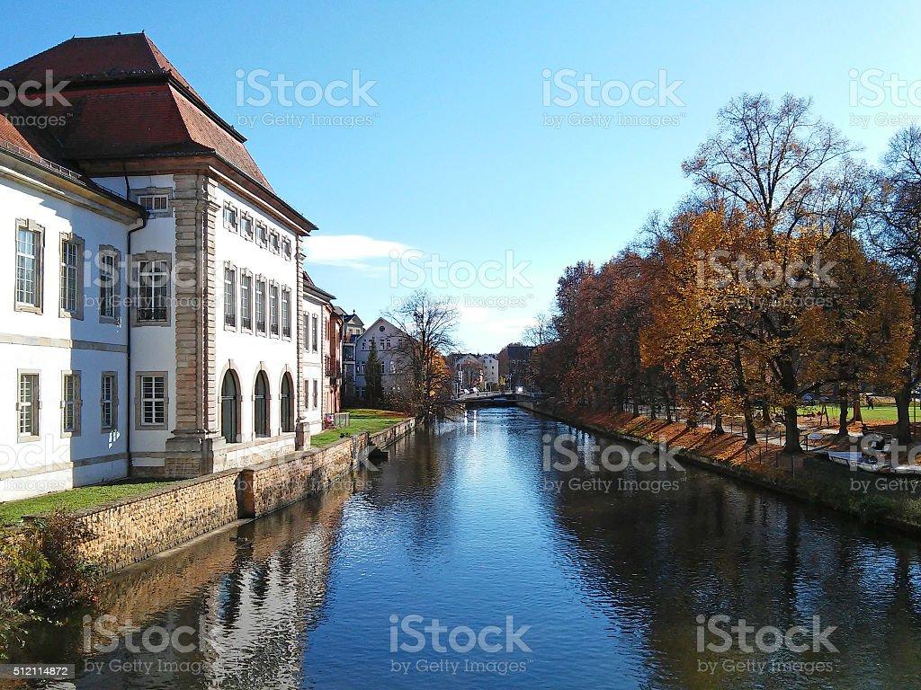 Neckar river in Esslingen stock photo