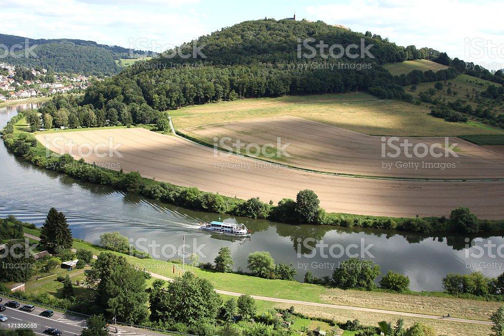 Neckar with passenger ship stock photo