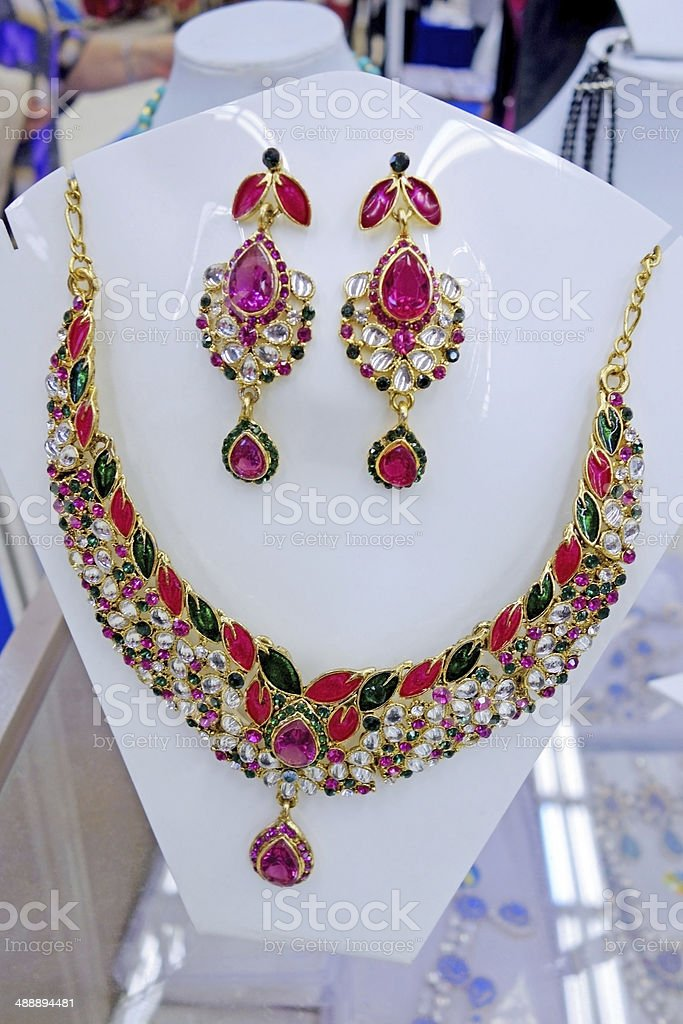 Necklace and earrings set royalty-free stock photo