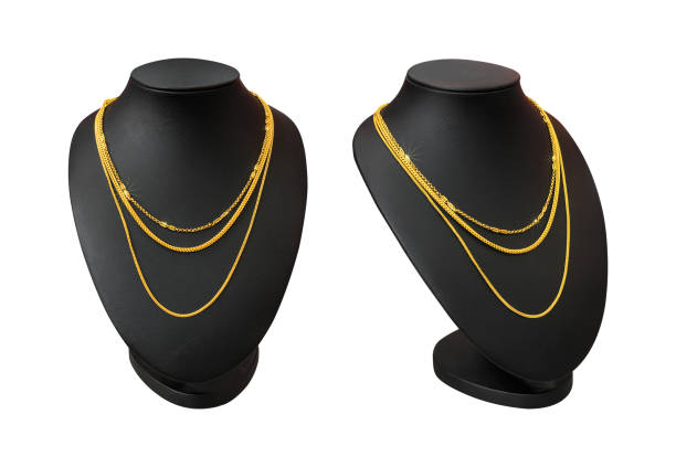 necklace display stand with gold necklace isolated on white background. part of top blank mannequin. ( clipping path ) - ожерелье стоковые фото и изображения