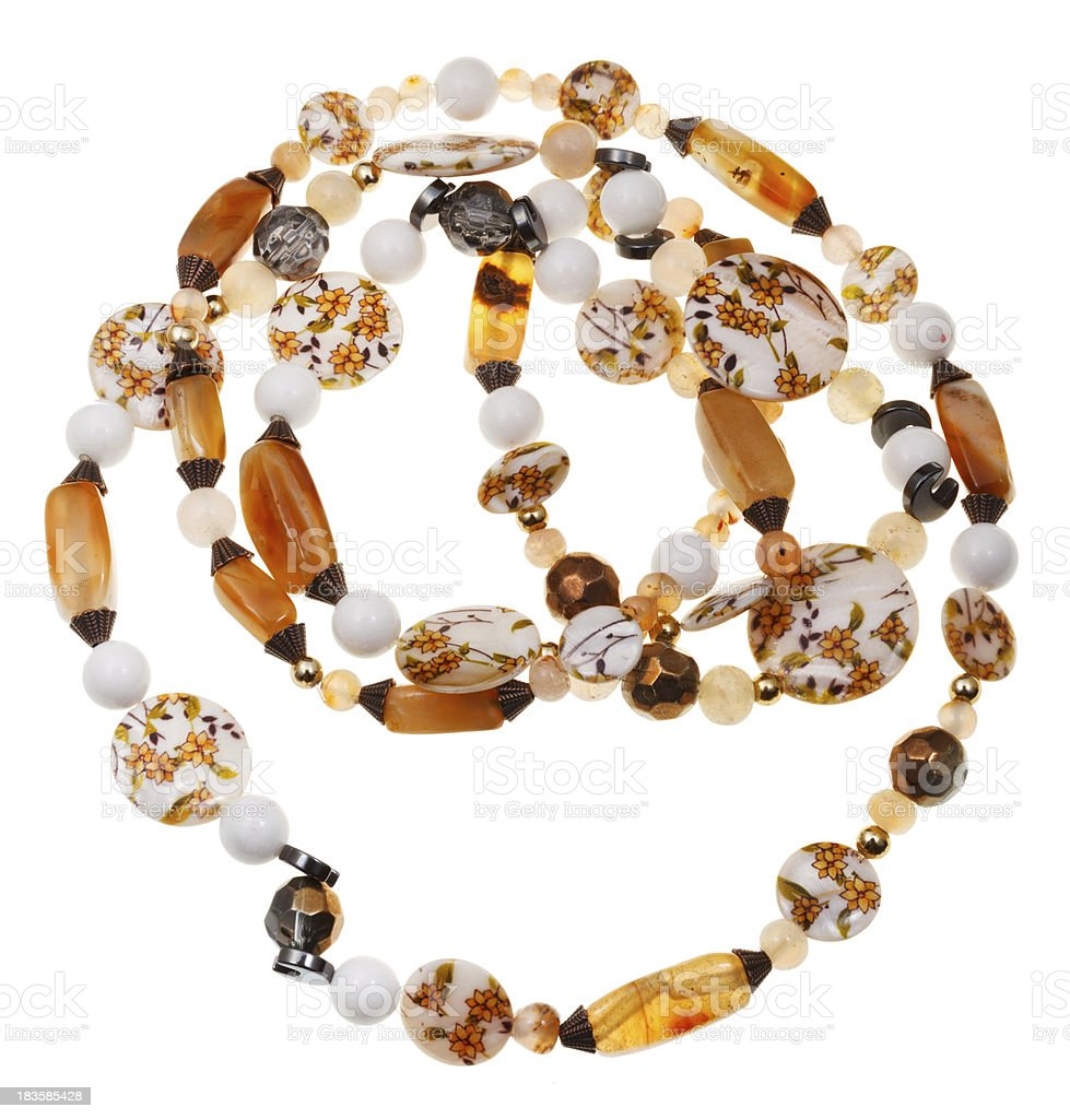necklace from nacre, agate, hematite, quartz royalty-free stock photo