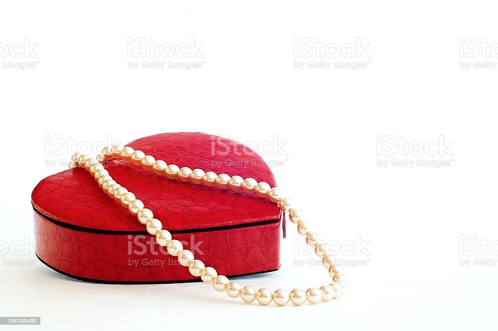 Necklace in a heart case stock photo