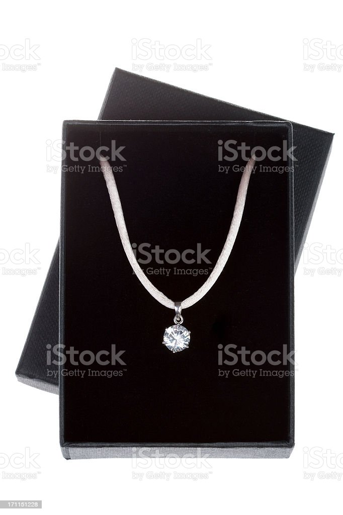 Necklace in a isolated gift box royalty-free stock photo