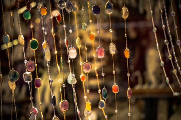 Necklace jewelry made of colorful precious stones stock photo