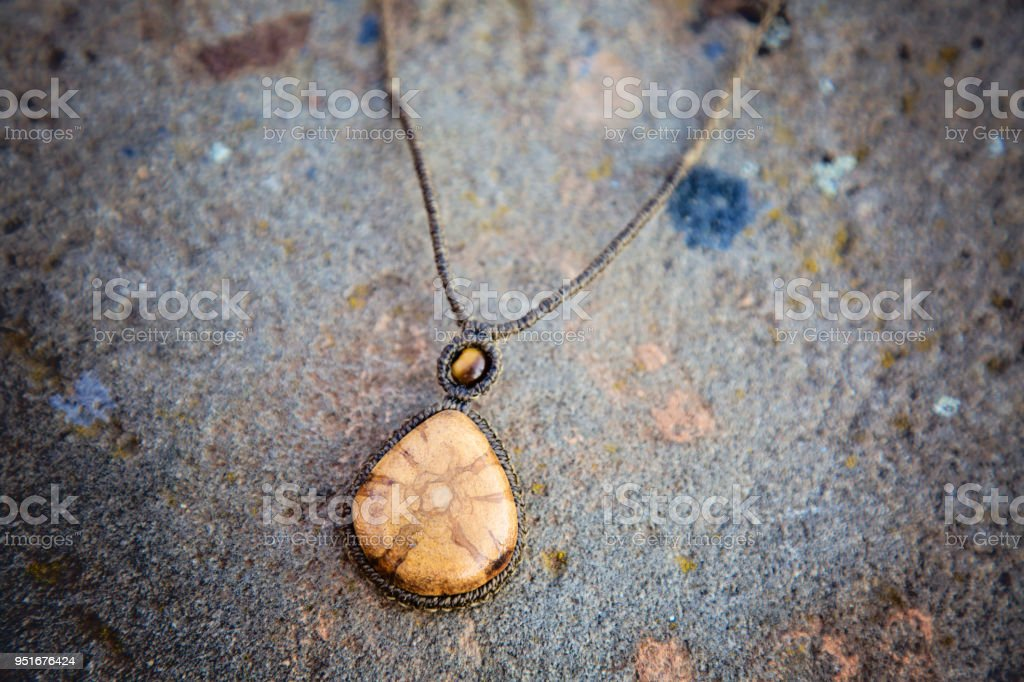 necklace with a stone stock photo