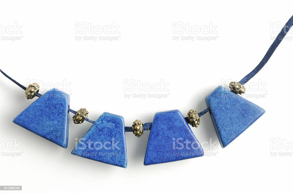 Necklace with blue gems stock photo