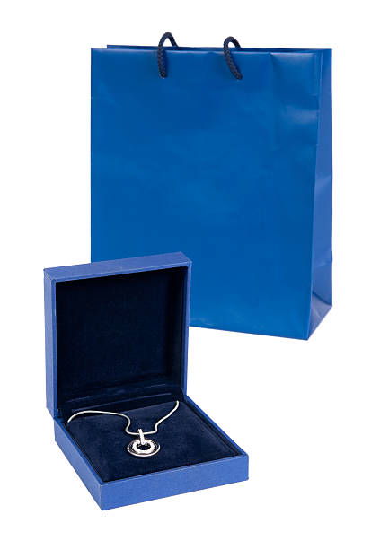 Necklace with gift bag stock photo