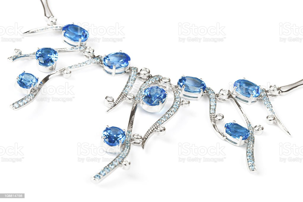 necklace with sapphires stock photo