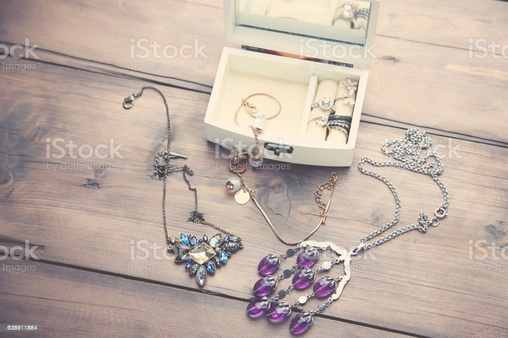 Necklaces and Boxes stock photo