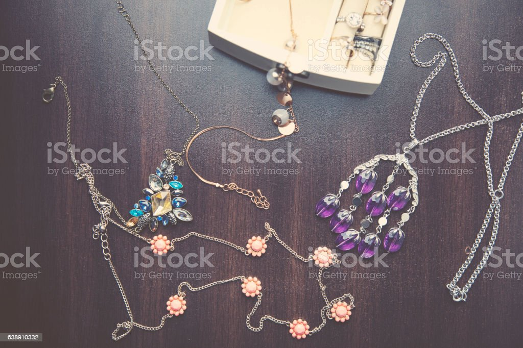 Necklaces, bracelet and Boxes stock photo