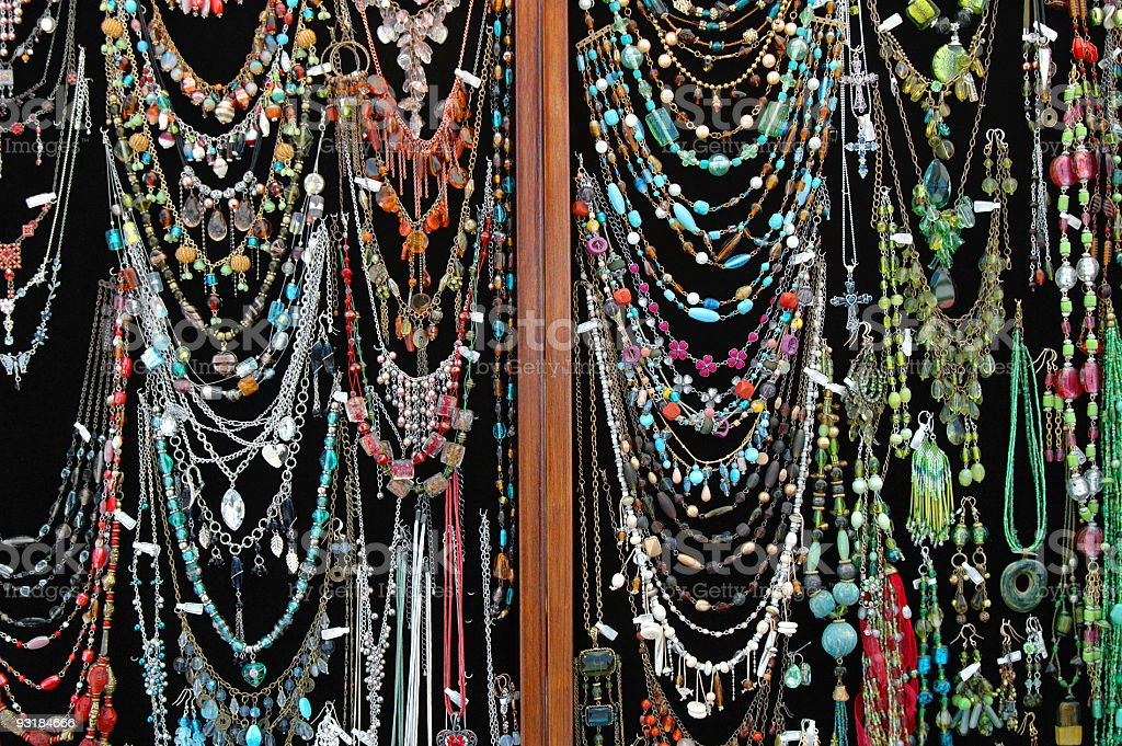 Necklaces for sale royalty-free stock photo