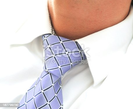 close-up of a blue necktie