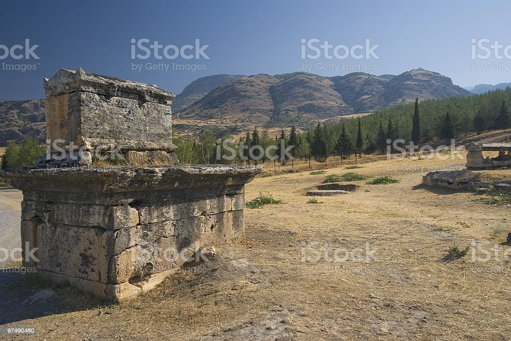 Necropolis in the antic city of Hierapolis royalty-free stock photo