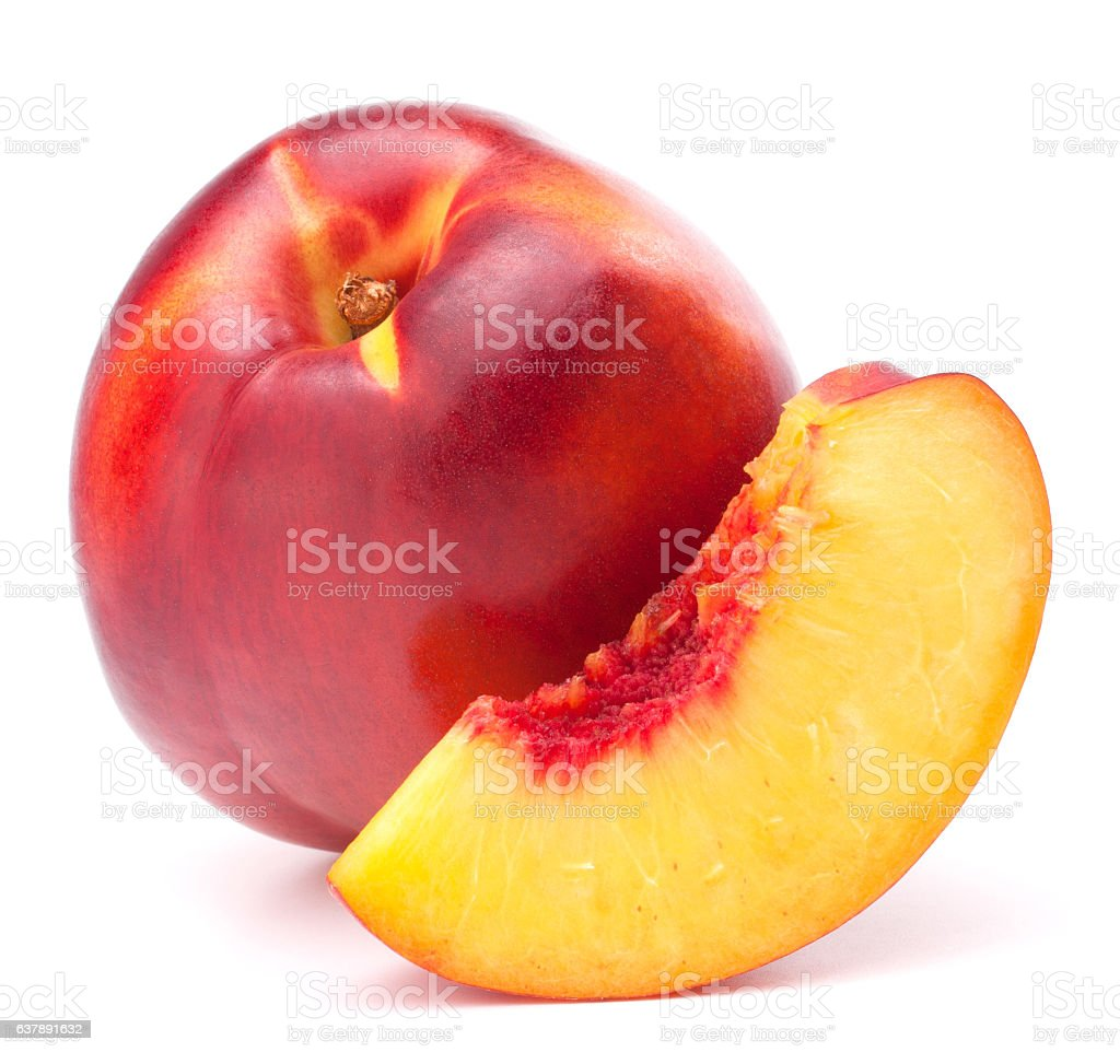 Nectarine fruit isolated on white background cutout stock photo