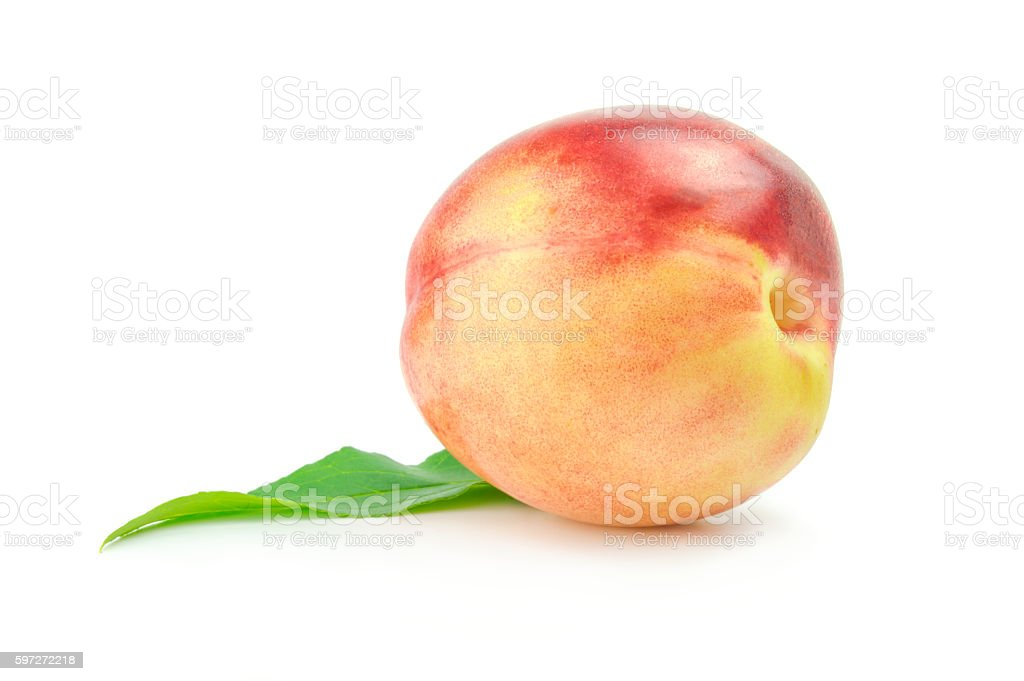 Nectarine fruit with leaf isolated on white background photo libre de droits
