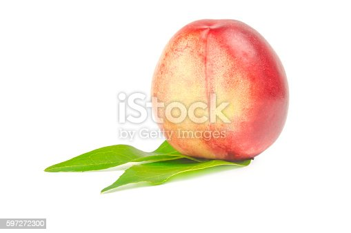 Nectarine Fruit With Two Leaves Isolated On White Background Stock Photo & More Pictures of Food
