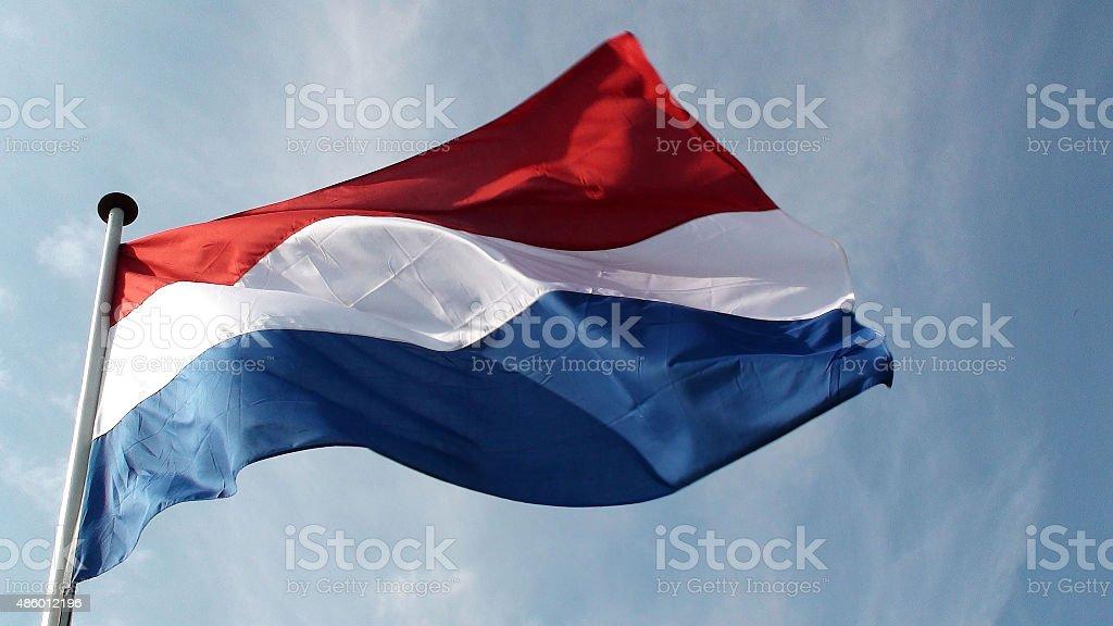 Nederland bandera nacional Amsterdam.Europe agitando en - foto de stock