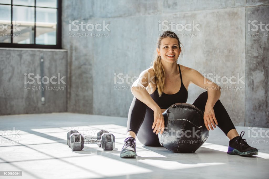 Need to break after hard workout stock photo