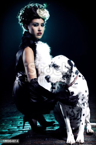 Character with dalmatian in a dark alley way.