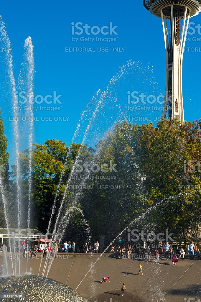 Needle and fountain stock photo