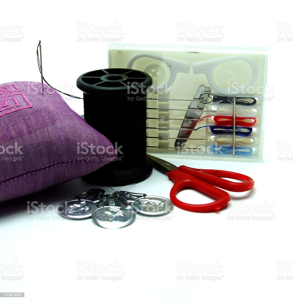 Needle and Thread Sewing Kit on White Background royalty-free stock photo