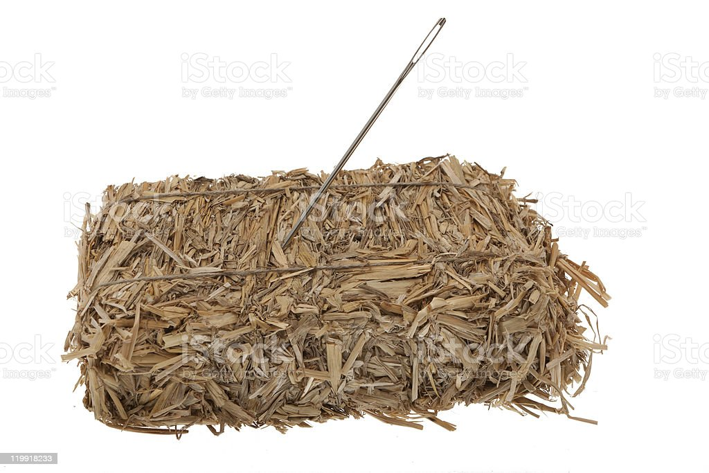 Needle in a hay bale royalty-free stock photo